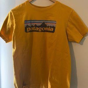 yellow/ gold patagonia t shirt